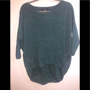 Express Teal Scoop Neck Sweater with Zippers